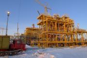 Строительство комплекса по утилизации попутного газа  на Харьяге, фото 2014 г.