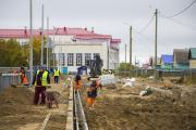 Работы в посёлке Красное идут полным ходом / Фото Алексея Орлова