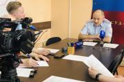 Руководитель ГИБДД НАО Леонид Николаев подробно рассказал об итогах работы за полугодие и ответил на вопросы журналистов / Фото Ирины Витязевой