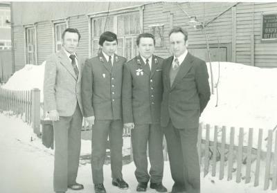 Коллектив отделения уголовного розыска, 1980 год. Слева направо – А.И. Попов, Г.Н. Хатанзейский, Г.П. Вокуев, Н.И. Куди